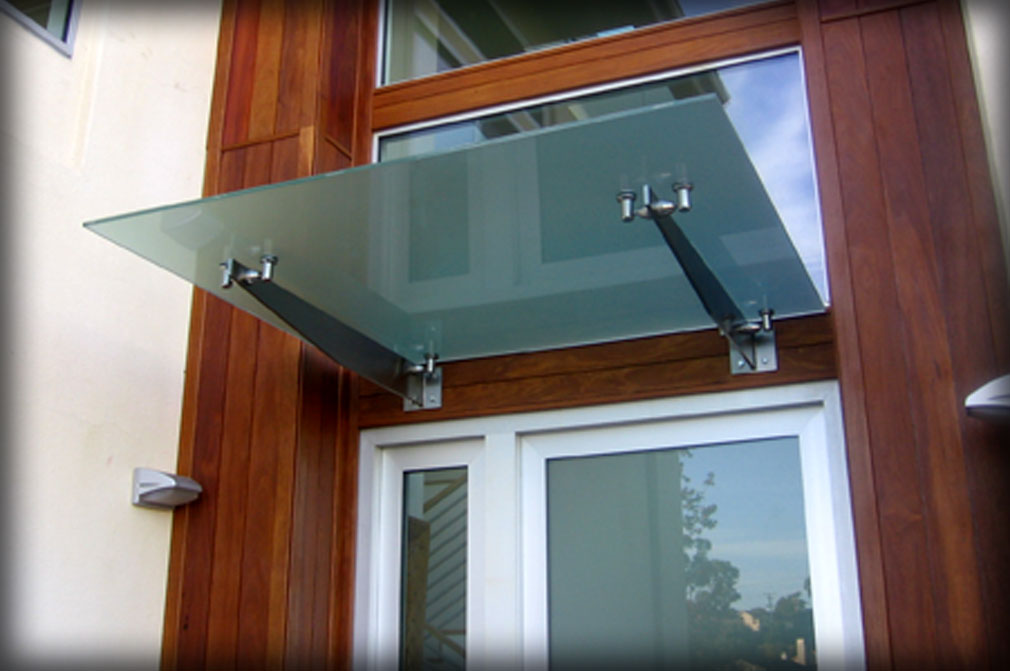 Frosted Glass Door Awning Entrance Canopy
